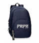 Compar Pepe Jeans Backpack double zip adaptable Pepe Jeans Uma navy blue -31x44x15cm