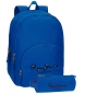 Mochila Pepe Jeans Harlow azul doble compartimento + estuche escolar -30,5x42,5x15cm-