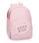 Mochila Pepe Jeans Olaia doble compartimento rosa -44x32x22cm-