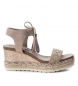 Compar Refresh Sandals wide wedge bios 069827 taupe - Wedge height: 8cm