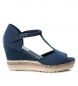 Compar Refresh Jute 069810 navy wide wedge sandals - Wedge height: 8cm