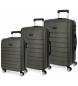Compar Roll Road Conjunto de bagagem rígida 37L-62L-95L Roll Road Magazine Gray -39x55x55x20 cm/47x66x66x24 cm/51x76x29 cm