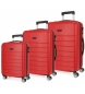 Compar Roll Road Ensemble de bagages rigide 37L-62L-95L Magasin à bagages Roll Road Rouge -39x55x55x20 cm/47x66x24 cm/51x76x29 cm