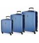 Juego de maletas Roll Road Camboya rígido 55-67-77cm Azul