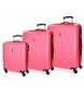 Juego de maletas Roll Road Camboya rígido 36L-72L-108L Fresa -40x55x20 cm/50x70x26 cm/57x80x29 cm-