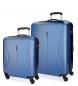 Juego de maletas Roll Road Camboya rígido Azul -40x55x20cm / 50x70x26cm-
