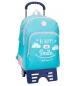 Mochila escolar Roll Road Happy Azul doble compartimento -33x44x13,5cm con carro-