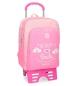 Mochila escolar Roll Road Happy Rosa doble compartimento -32x45x15cm con carro-