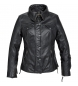 Spirit motors ladies chaqueta de cuero clásica 2.0 negro