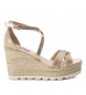 Compar Xti Sandals wide wedge jute 049001 beige - Wedge height: 10cm