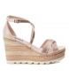Compar Xti Sandals wide wedge jute 049001 nude - Wedge height: 10cm
