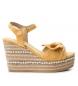 Sandalias cuña ancha yute 049073 amarillo -Altura cuña: 10cm-
