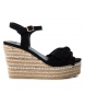 Compar Xti Sandals wide wedge jute 049073 black - Wedge height: 10cm