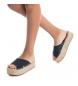Comprar Xti Leather sandal 049134 navy - Platform height: 4cm