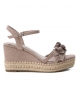 Compar Xti Sandals wide wedge 035040 taupe - Wedge height: 10cm