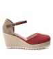 Compar Xti Sandals wedge half jute 034102 burgundy - Wedge height: 8cm