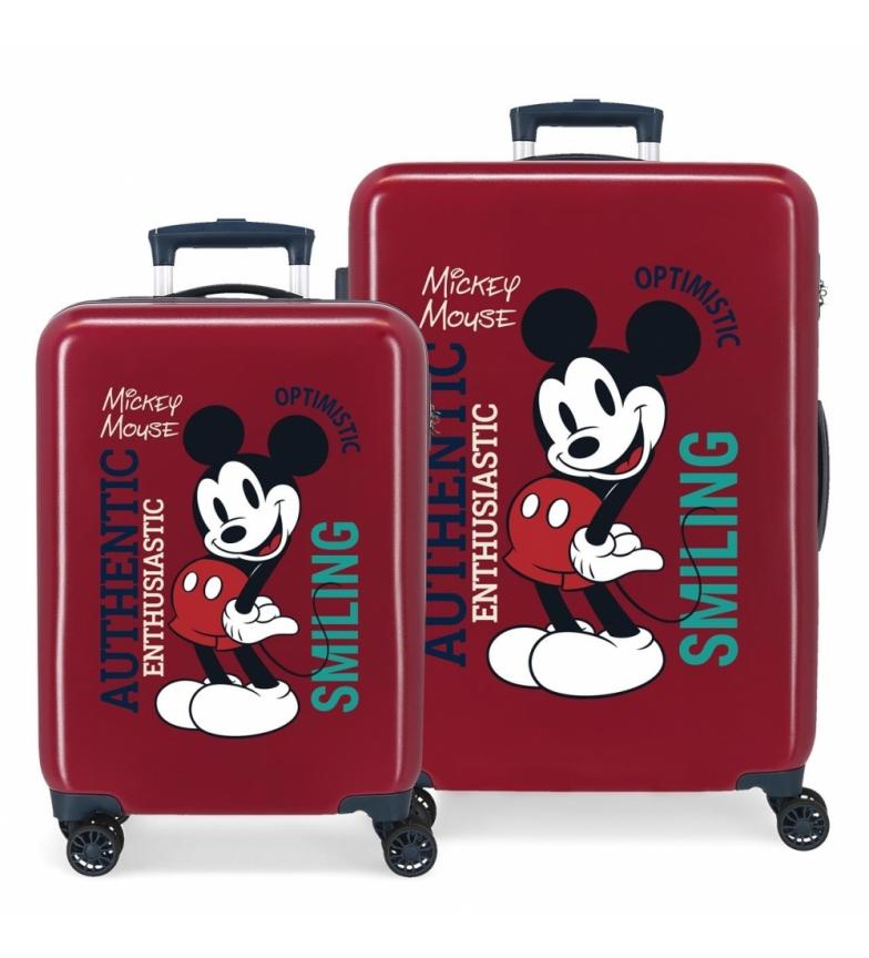Comprar Disney Set of Mickey Authentique Original Hard Suitcases maroon -38x55x20cm and 48x68x26cm