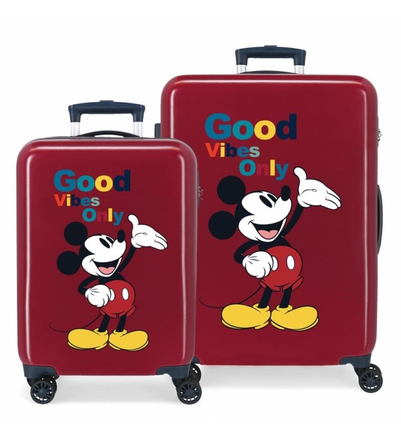 Comprar Disney Mickey Original Good Vibes Only maroon hard suitcases set -38x55x20cm and 48x68x26cm-.