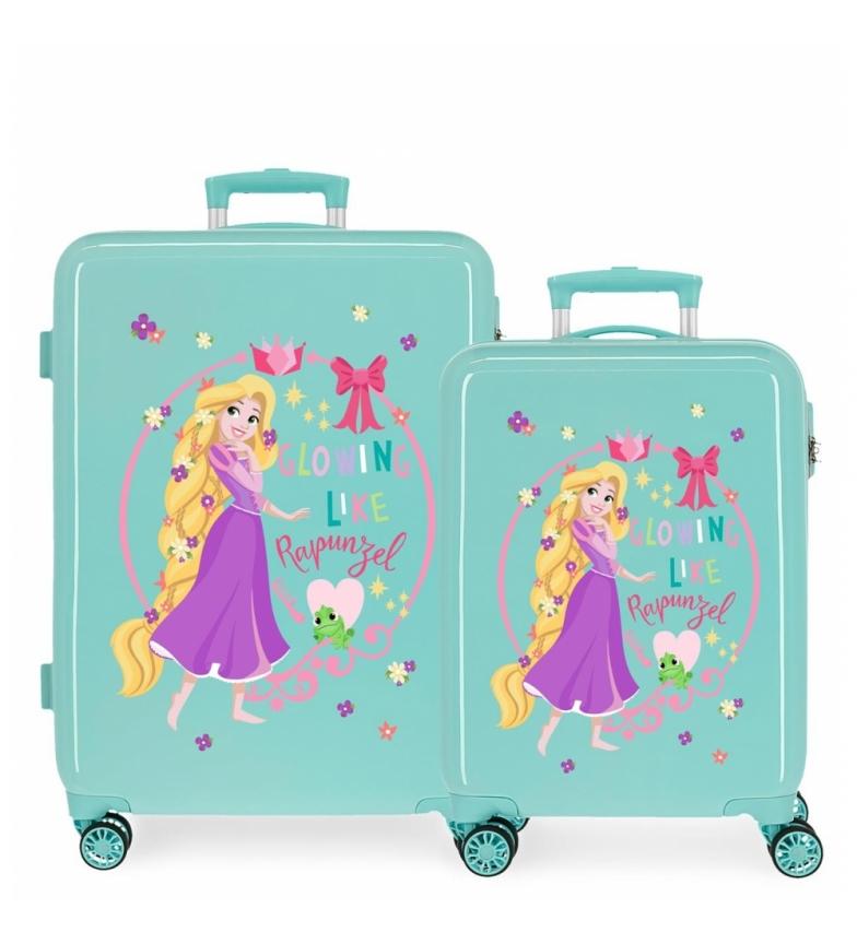 Comprar Disney Rapunzel Princess Celebration Turquoise Hard Suitcase Set -38x55x20cm & 48x68x26cm