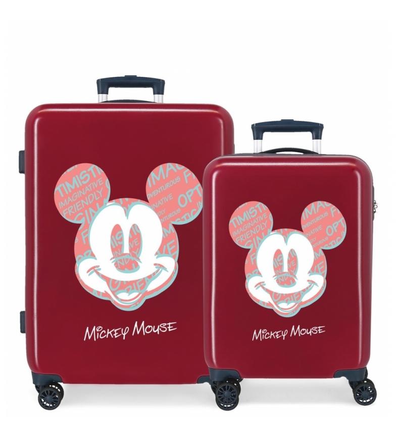 Comprar Disney Mickey Always Be Kind Hard Suitcase Set maroon -38x55x20cm and 48x68x26cm