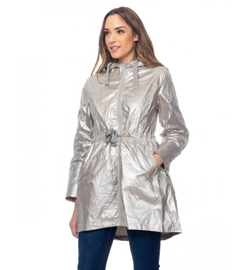 Comprar Tantra Giacca lunga metallizzata con cappuccio ed elastico in vita con spalline beige