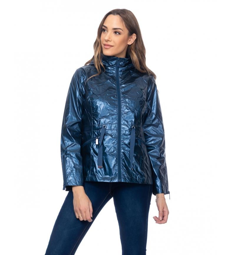 Comprar Tantra Casaco metálico com capuz e tachas na parte de trás azul
