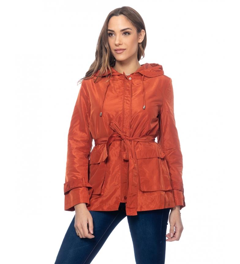 Comprar Tantra Casaco com Capuz, Cinto e Bolsos Visíveis laranja