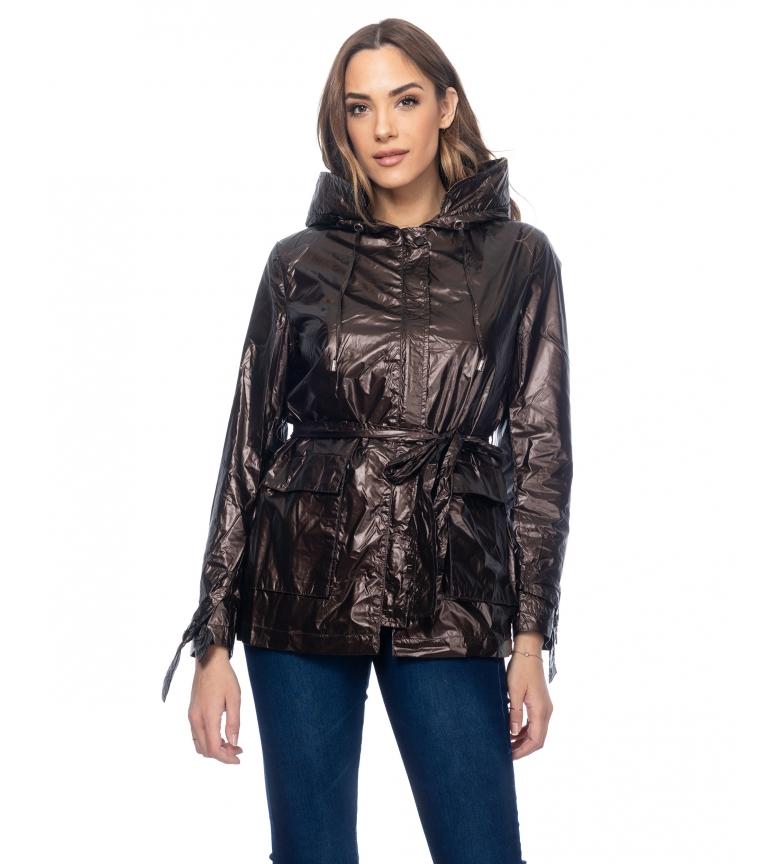 Comprar Tantra Casaco metálico com capuz, cintura e bolsos visiveis castanhos