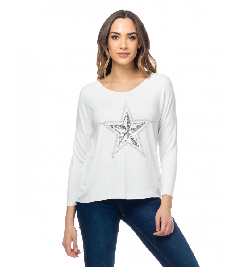 Comprar Tantra Pull tricoté avec des paillettes d'étoiles blanches