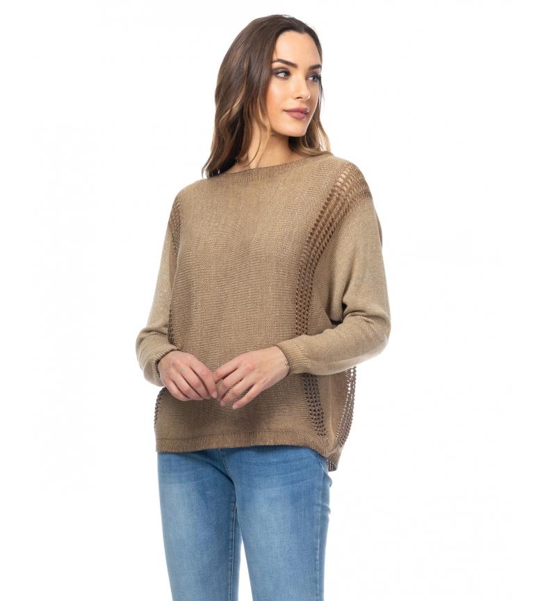 Comprar Tantra Pull tricoté en lurex avec chameau ajouré