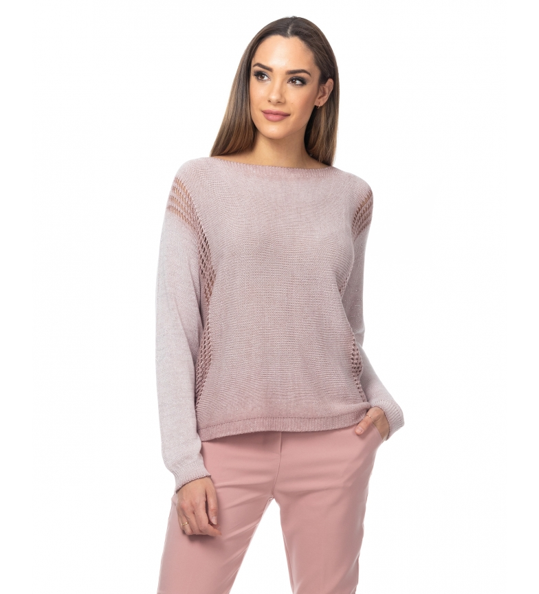 Comprar Tantra Pull tricoté en lurex avec des ajourages rose pâle