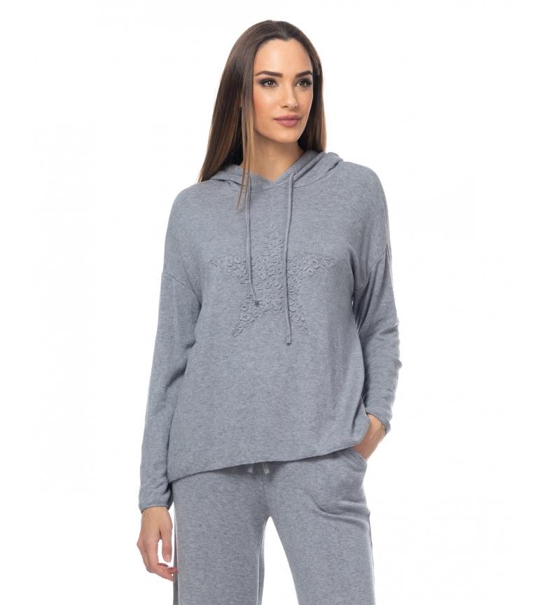 Comprar Tantra Pull à capuche tricoté avec détail d'étoile gris
