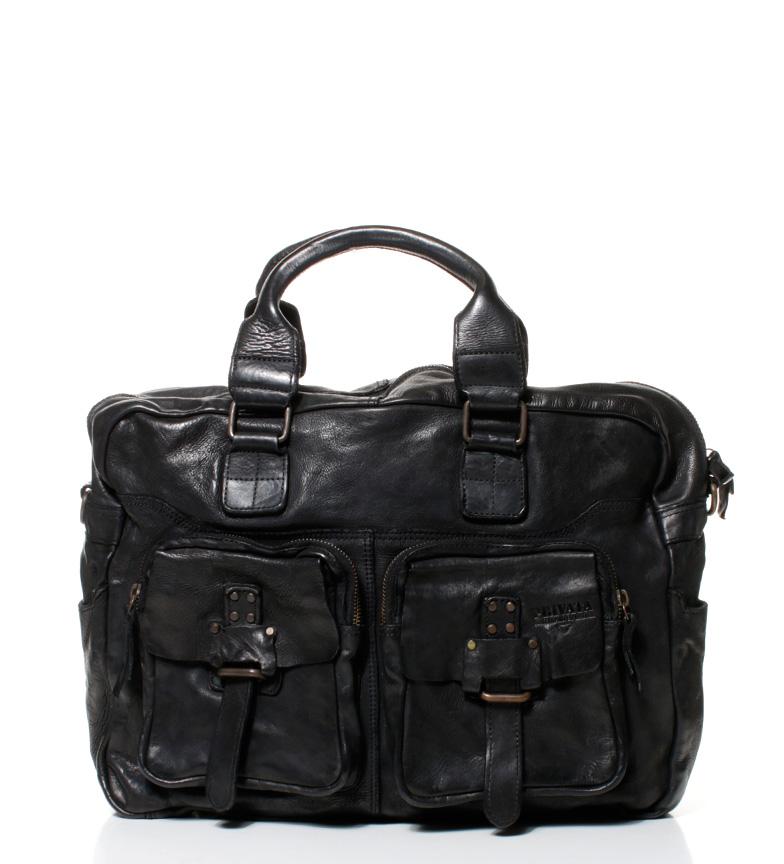 Comprar Privata Lavé messager en cuir Nouveau Crackle noir 30x38x13,5 cm-