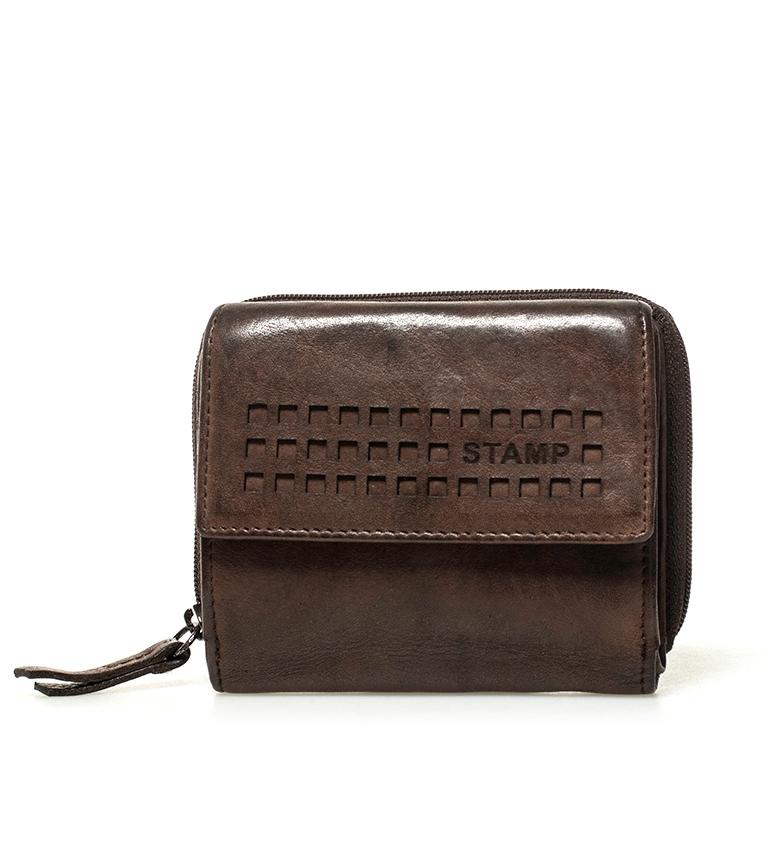Comprar Stamp Billetero de piel Ross marrón 9x10x2,5cm-