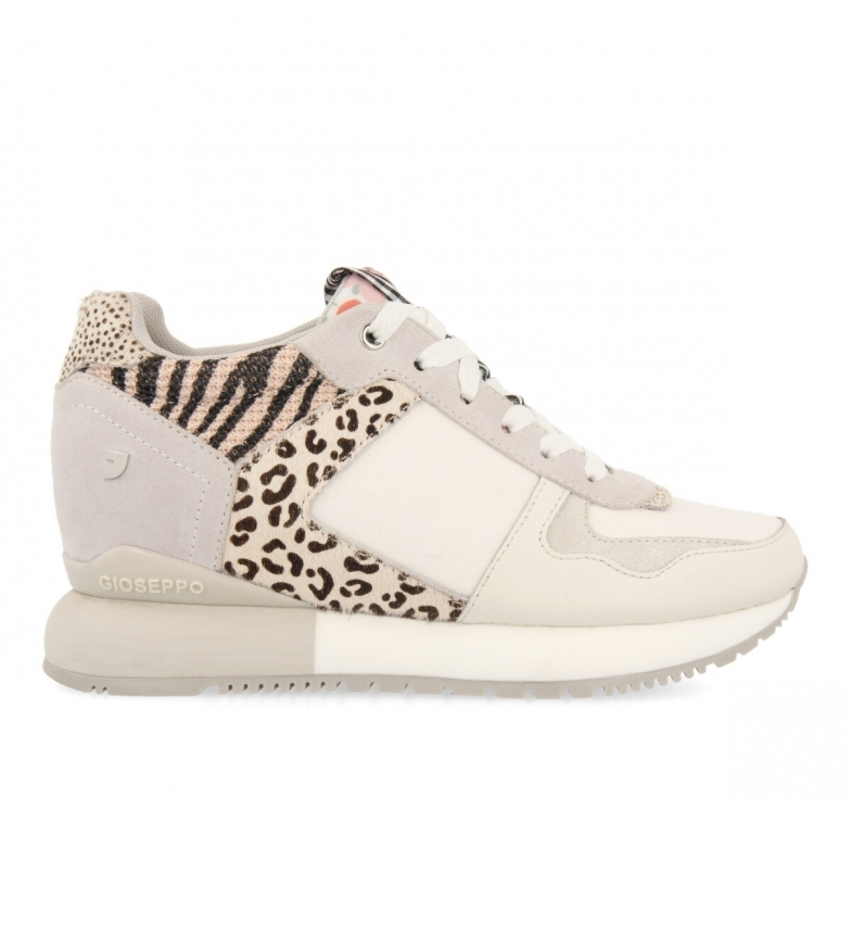 Comprar Gioseppo Sneakers Overland in pelle con stampa animalier, vichy e fiori bianchi