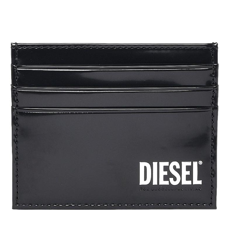 Comprar Diesel Porte-cartes Johnas II en cuir avec logo noir -10x7.8x0.5cm