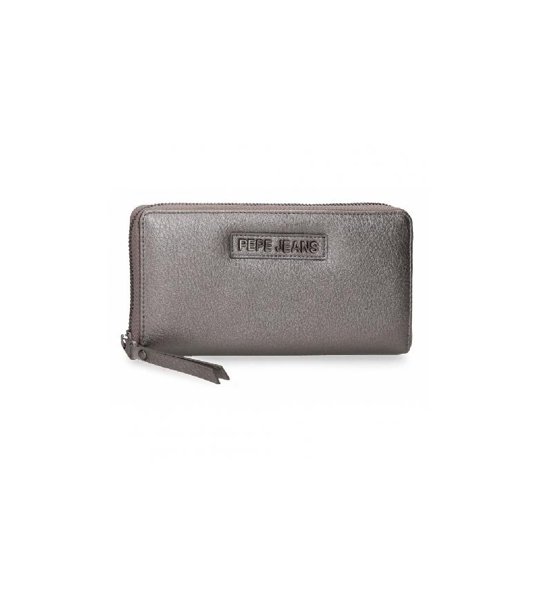 Pepe Jeans Portefeuille Cira -18x10x2cm- gris métallique