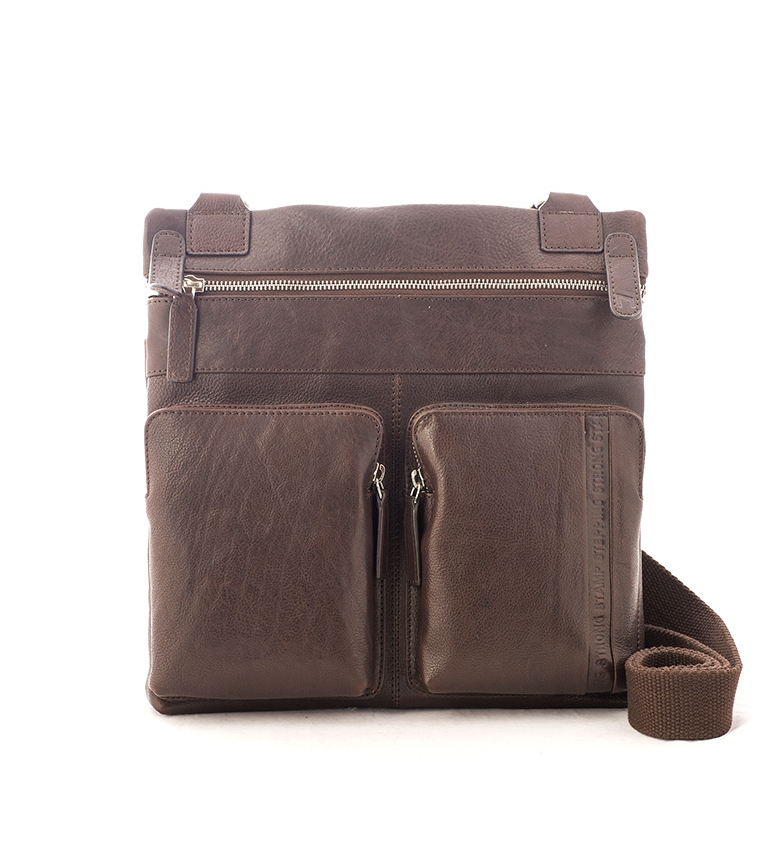 Stamp Shoulder bag in Unuk brown leather -30x30x5cm-