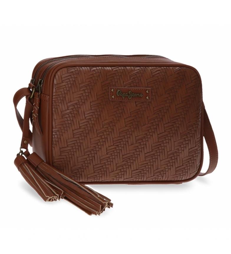 Comprar Pepe Jeans Leather shoulder bag double compartment -25x18x7cm- maroon