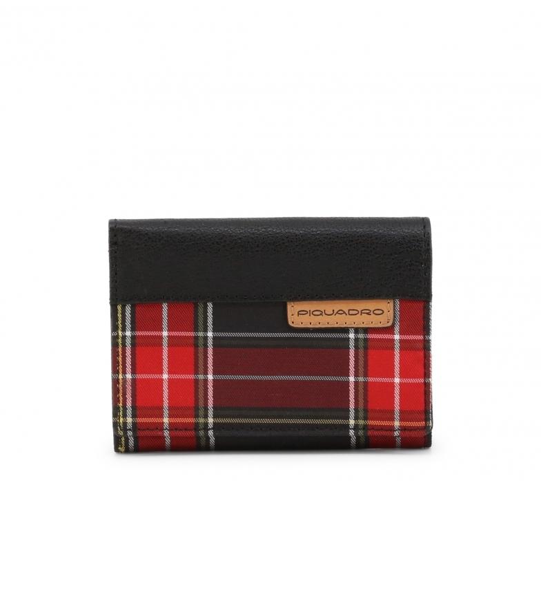 Piquadro Leather Wallet PU4455BL black, red -11x8,5x2,5cm