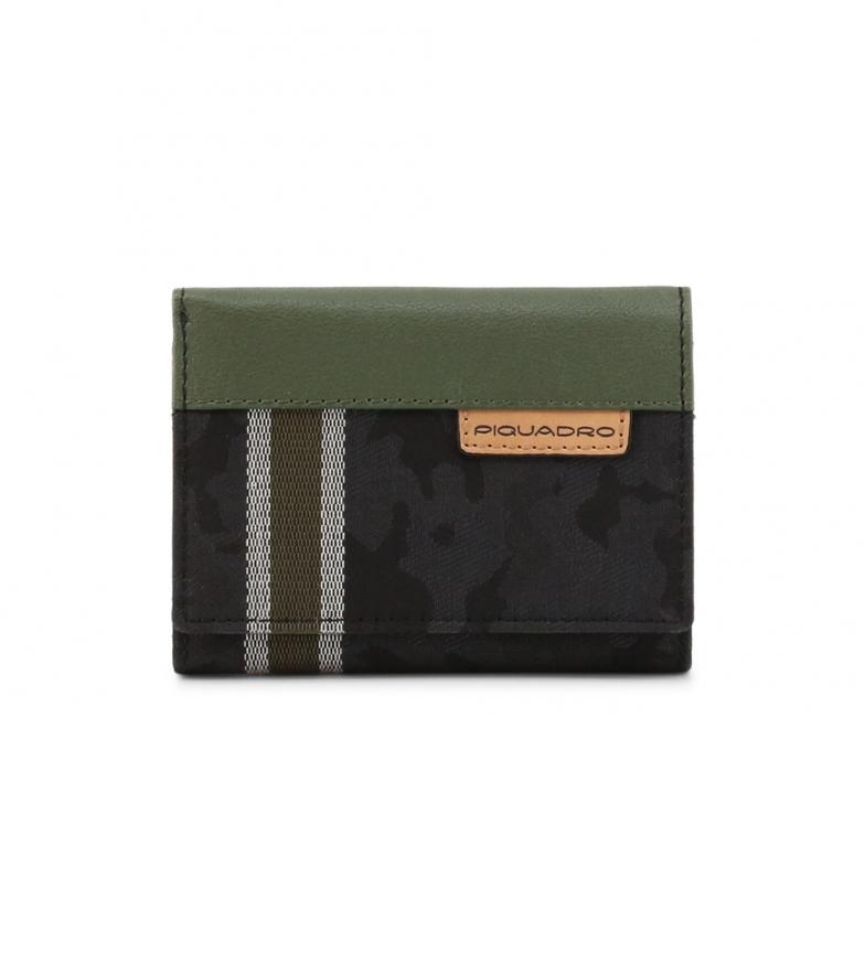 Piquadro Carteira de couro PU4455BL preta, verde -11x8,5x2,5cm