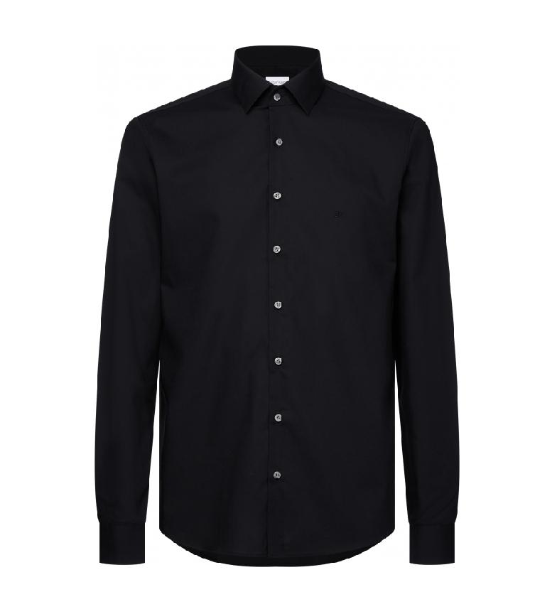 Calvin Klein Camisa Slim em popeline elástico preto