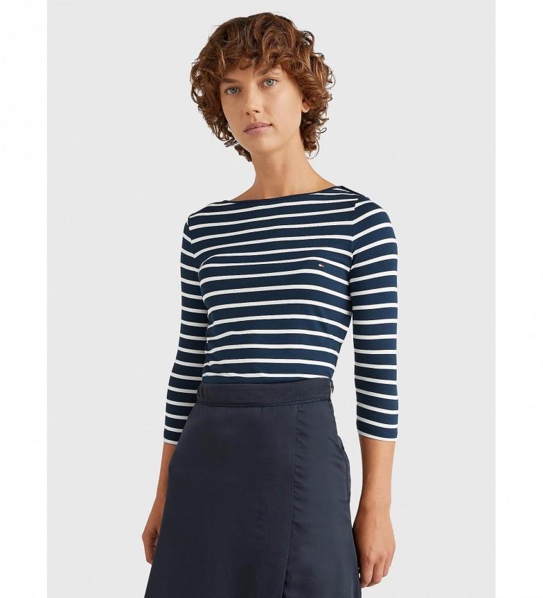 Tommy Hilfiger T-shirt Heritage con scollo a barca 3/4 blu navy, bianca