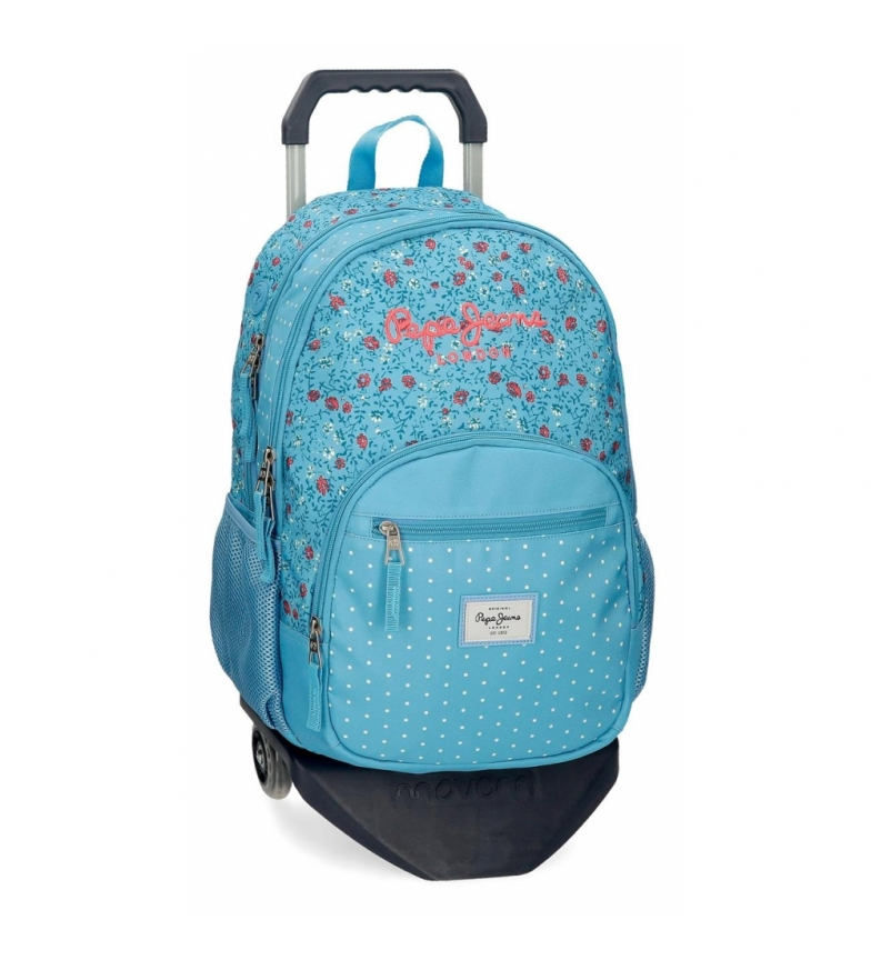Comprar Pepe Jeans Ava Double Zipper Backpack with Trolley blue -32x44x22cm