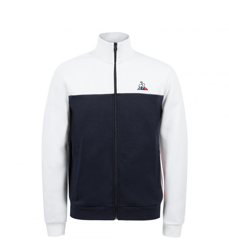 Le Coq Sportif Sweat-shirt zippé Tricolore Saison marine, blanc