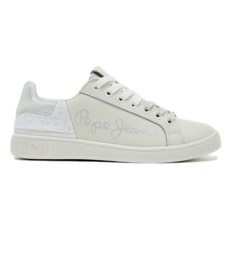 Pepe Jeans Brompton tênis de couro divertido branco, prata