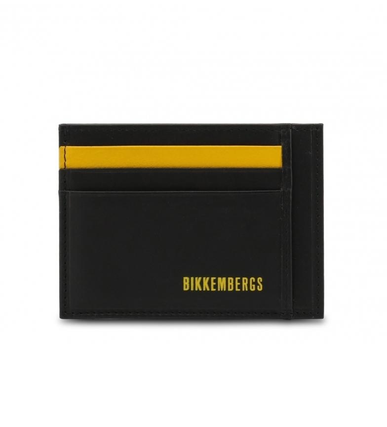 Comprar Bikkembergs Carteira de couro E2APME903093 preto e mostarda 11x8x0,5cm
