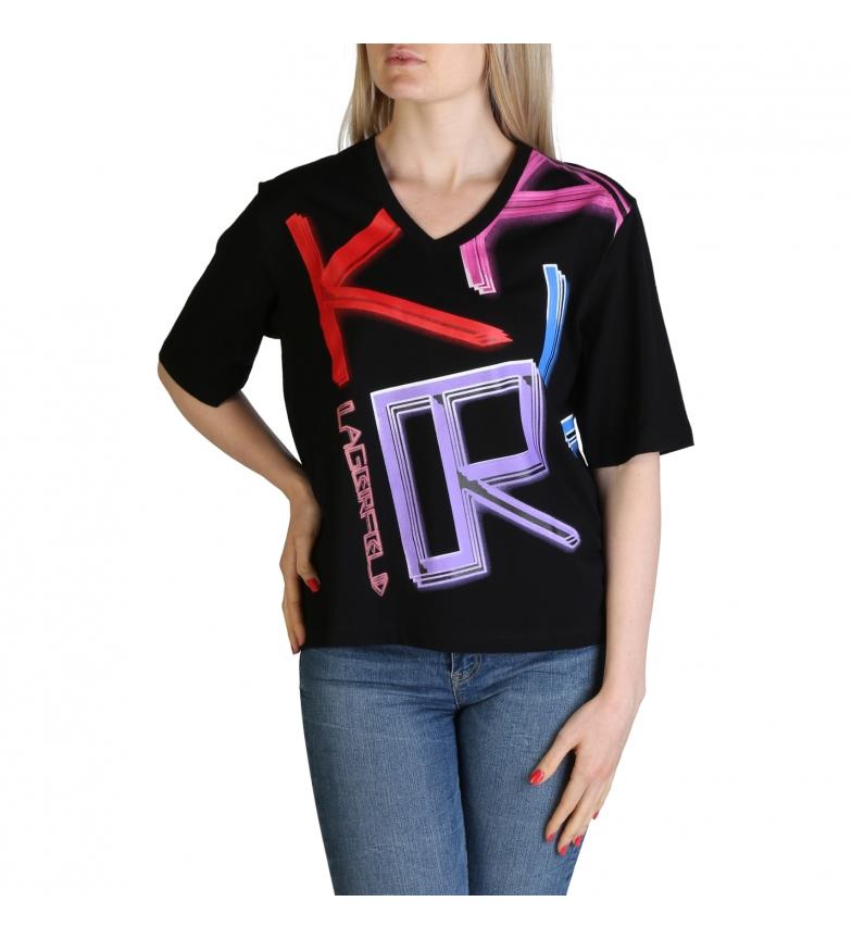 Comprar Karl Lagerfeld T-shirt KL21WTS02 nera, multicolore