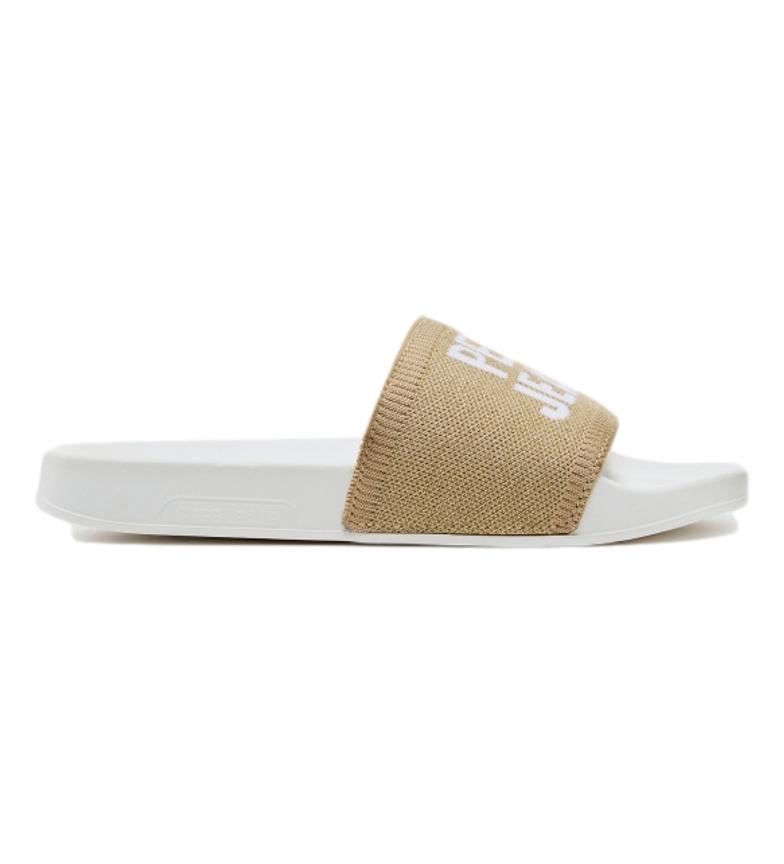 Comprar Pepe Jeans Slider knit bianco, infradito oro