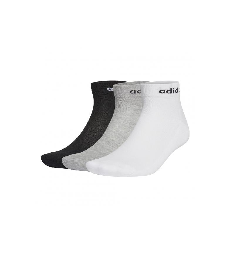 adidas Pack de 3 pares de calcetines HC Ankle 3PP negro, gris, blanco